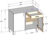 Eckunterschrank ABBY mit Schublade aus Kiefer, gebeizt geölt
