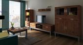 Regalschrank KELLY aus Akazienholz mit 2 Türen in braun