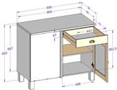 Eckunterschrank TILO 1 Schublade aus Kiefer in havana