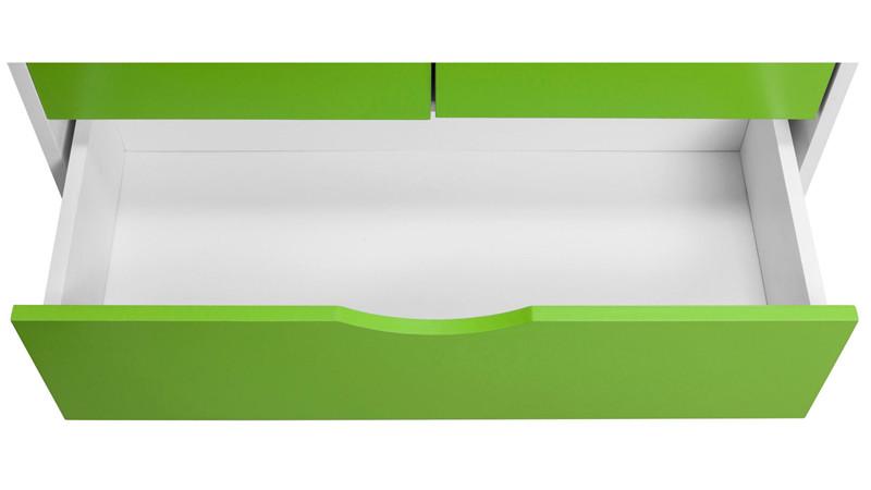 Kleiderschrank NELSON Höhe 180 cm aus FSC Holz weiß & grün - Loft24.de