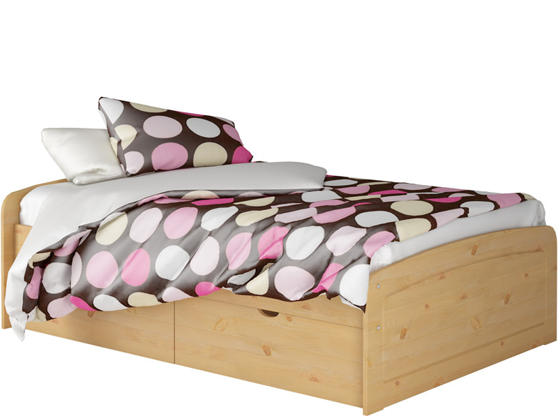 bett ronja 140x200 cm gebeizt ge lt mit 1x bettkasten set. Black Bedroom Furniture Sets. Home Design Ideas