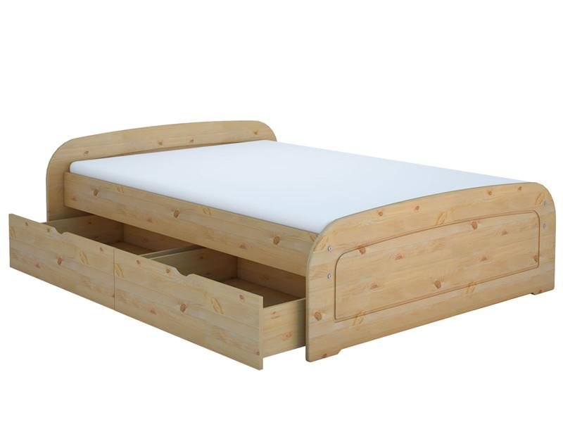 Bett ronja 140x200 cm gebeizt ge lt mit 1x bettkasten set for Bett 140x200 mit bettkasten