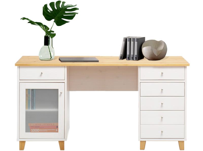 Schreibtisch SCALA Aus Massivholz Kiefer In Weiß Und Natur