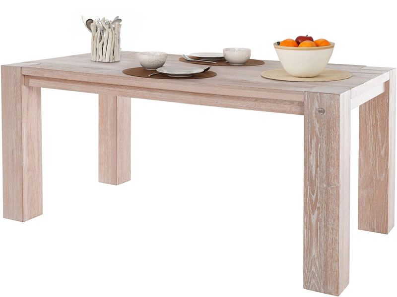 Esstisch SENNA aus Wildeiche Massivholz in weiß, 180 cm   Loft24.de
