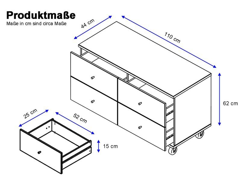kommode missa auf rollen aus kiefer massiv in wei. Black Bedroom Furniture Sets. Home Design Ideas