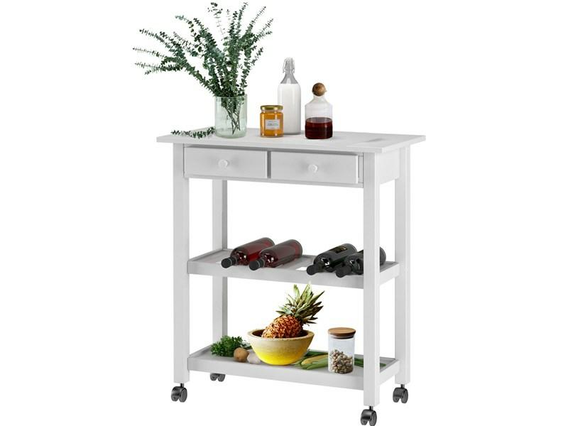 Küchenwagen Landhausstil küchenwagen dagda aus kiefer massiv in weiß loft24 de