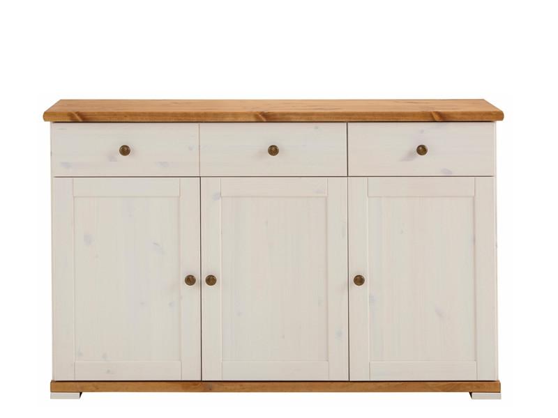 Sideboard IDEE mit 3 Türen aus Kiefer massiv in weiß & honig ...