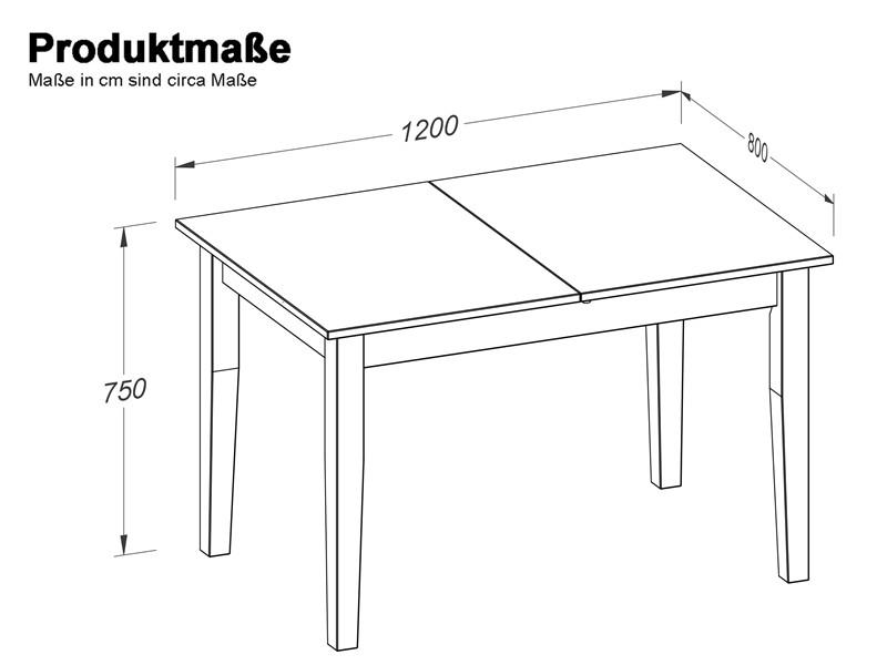 Ausziehbarer Esstisch TAVIAN120/160 x 80 cm gebeizt geölt - Loft24.de