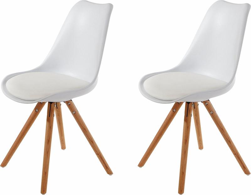 2er Set Stuhl Britta Aus Kunstleder In Weiss Holzbeine Loft24de