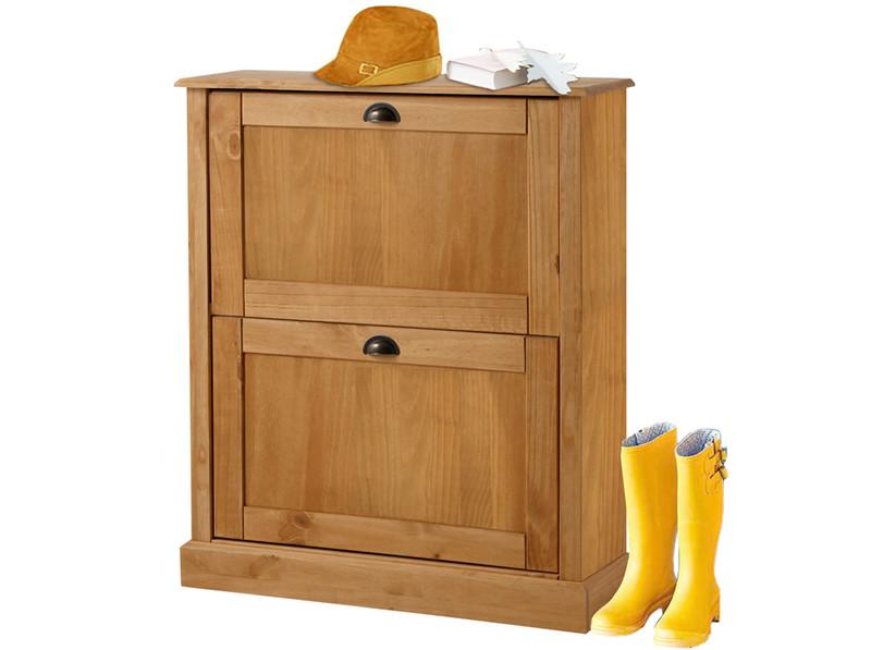 schuhschrank gail mit 2 f chern kiefer massiv gebeizt ge lt. Black Bedroom Furniture Sets. Home Design Ideas