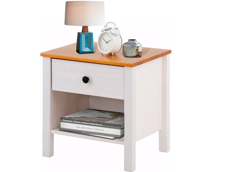 Nachttisch aus Kiefer massiv in weiß honig - Loft24.de