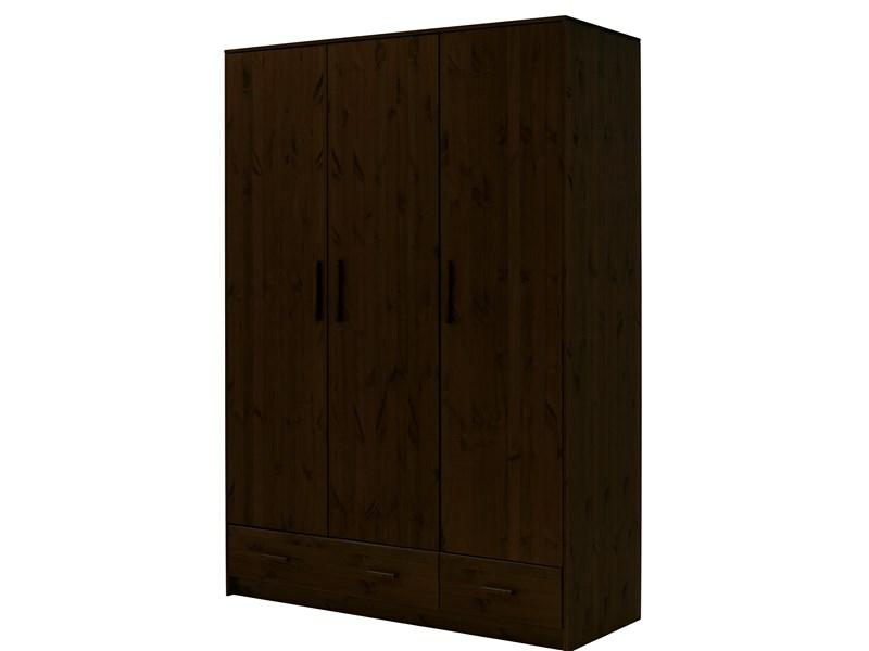 kleiderschrank carla aus kiefer massiv in schwarz. Black Bedroom Furniture Sets. Home Design Ideas
