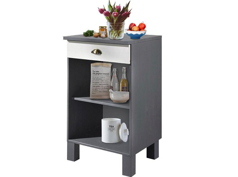 Unterschrank für Küche TILO aus Kiefer massiv in weiß & grau - Loft24.de
