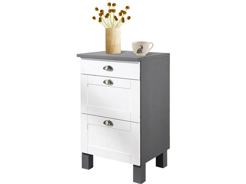 unterschrank f r k che tilo aus kiefer massiv in wei und grau loft24. Black Bedroom Furniture Sets. Home Design Ideas