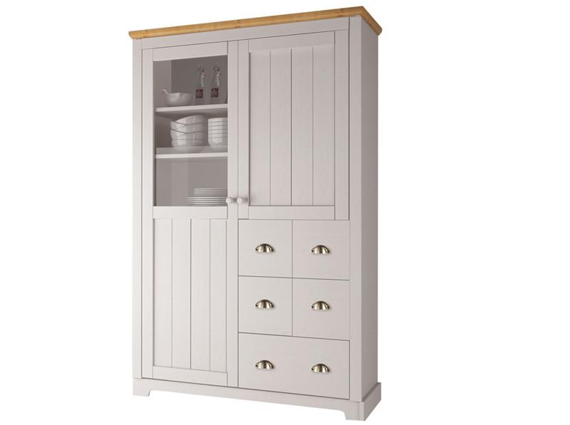 Küchenschrank FOREST aus Kiefer massiv in weiß honig - Loft24.de