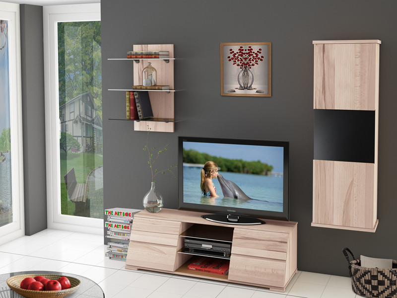 tv lowboard amy aus kernbuche gewachst mit zwei schubladen. Black Bedroom Furniture Sets. Home Design Ideas