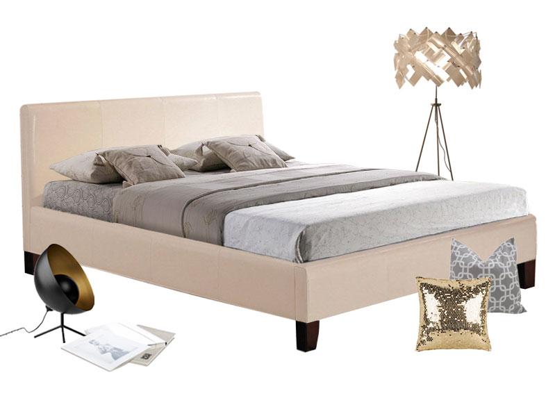 bett 160 cm raquel aus pu leder in creme. Black Bedroom Furniture Sets. Home Design Ideas