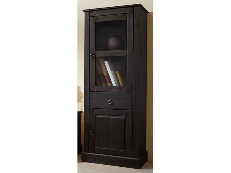 vitrine 145cm cadell aus kiefer massiv in havanna lackiert. Black Bedroom Furniture Sets. Home Design Ideas
