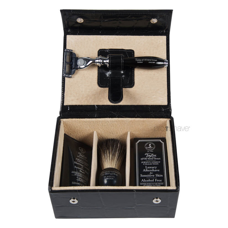 Taylor Of Old Bond Street Luksus Grooming kit, Sort læder