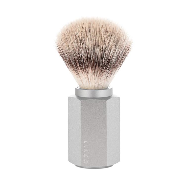 Mühle x Mark Braun Silvertip Fiber® Barberkost, 21 mm, Hexagon, Sølv