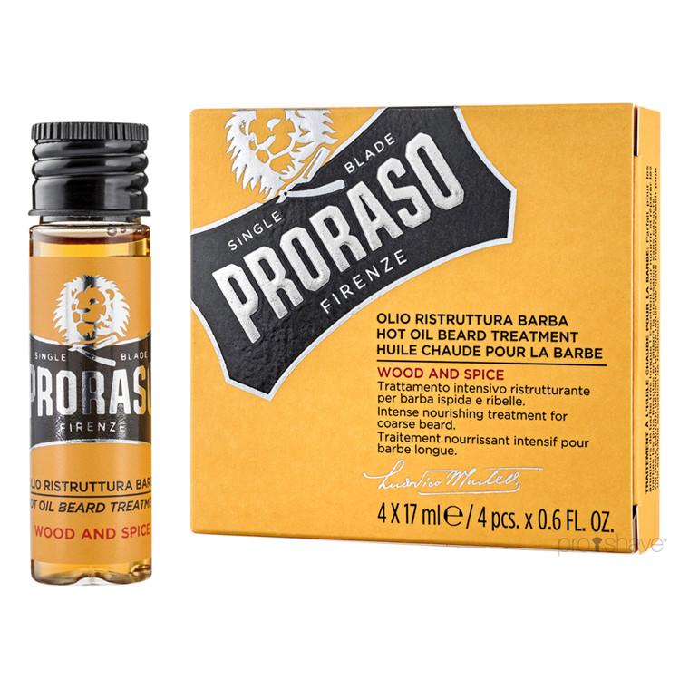 Proraso Varm Skægolie, Wood & Spice, 4x17 ml.