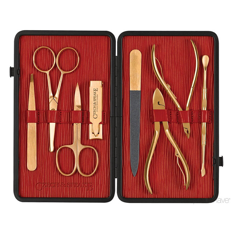Czech & Speake Manicuresæt, 8 guld instrumenter, Sort/rød