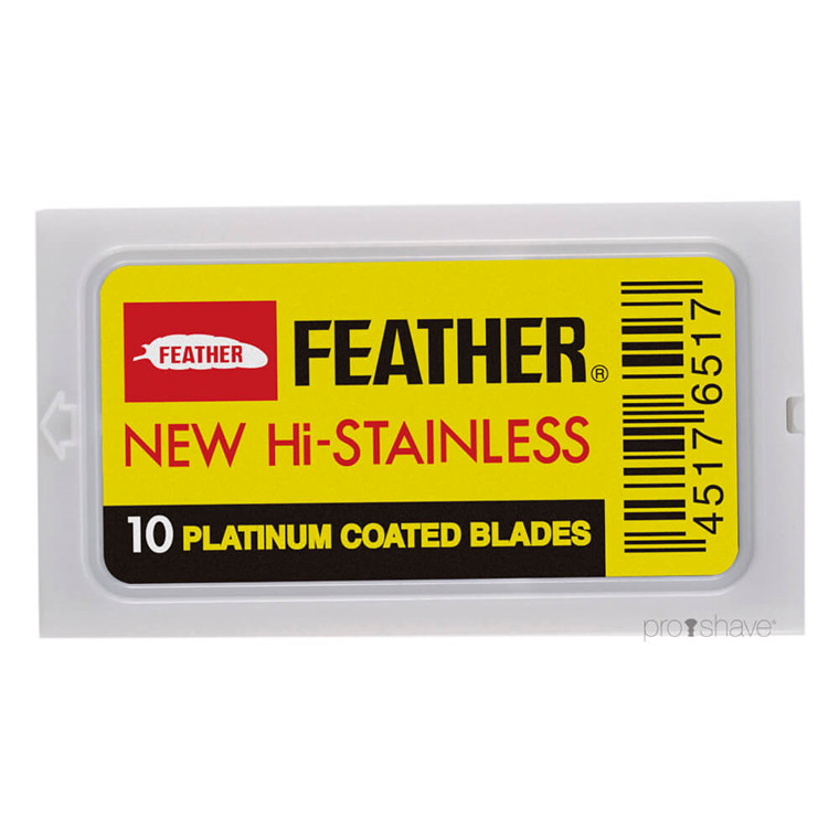 Feather New Hi-Stainless DE-Barberblade, 10 stk.