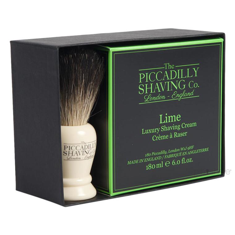 Piccadilly Shaving Gaveæske med Barberkost og Barbercreme, Lime