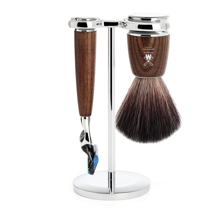 Mühle barbersæt med Fusion skraber, Barberkost og Holder, Rytmo, Ask