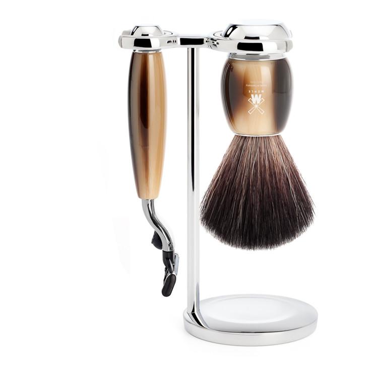 Mühle barbersæt med Mach3 Skraber, Fiber Barberkost og Holder, Vivo, Brunt Horn