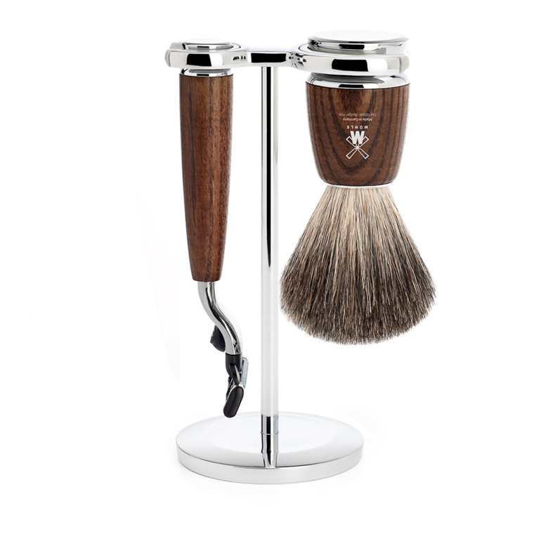 Mühle barbersæt med Mach3 Skraber, Barberkost og Holder, Rytmo, Ask