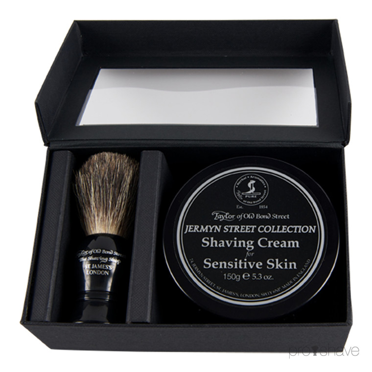 Taylor Of Old Bond Street Gaveæske med Barberkost og Barbercreme, Jermyn Street Collection