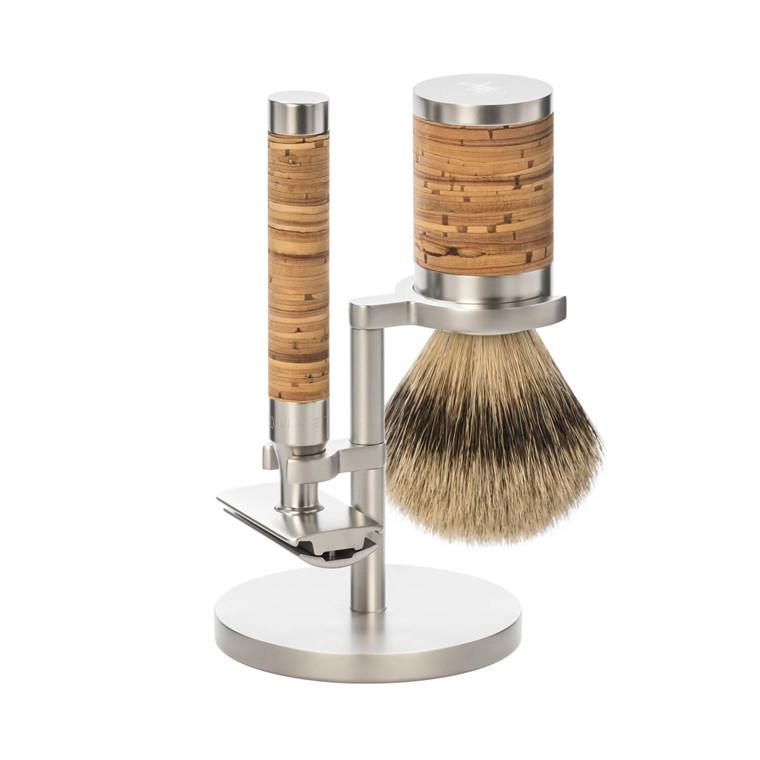 Mühle Barbersæt med DE-skraber, Barberkost og Holder, Rocca, Rustfrit stål & Birkebark