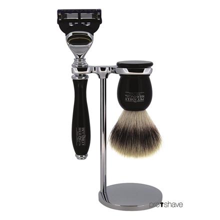 Piccadilly Shaving Barbersæt med Skraber, Imiteret Badger Barberkost og Holder, Sort kunstharpiks