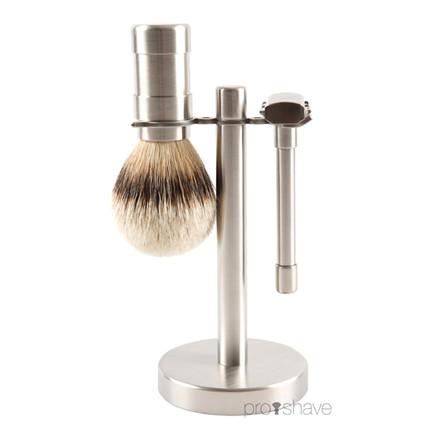 Pils Rasur Barbersæt med DE-skraber, barberkost og holder
