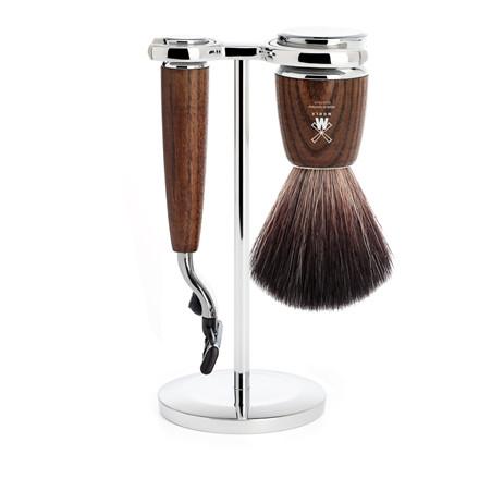 Mühle barbersæt med Mach3 skraber, Fiber Barberkost og Holder, Rytmo, Ask