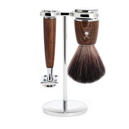 Mühle barbersæt med DE-skraber, Fiber Barberkost og Holder, Rytmo, Ask