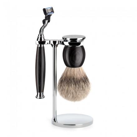Mühle Barbersæt med Mach3 Skraber, Barberkost og Holder, Sophist, African Blackwood