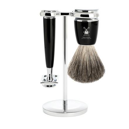 Mühle barbersæt med DE-skraber, Barberkost og Holder, Rytmo, Sort Kunstharpiks