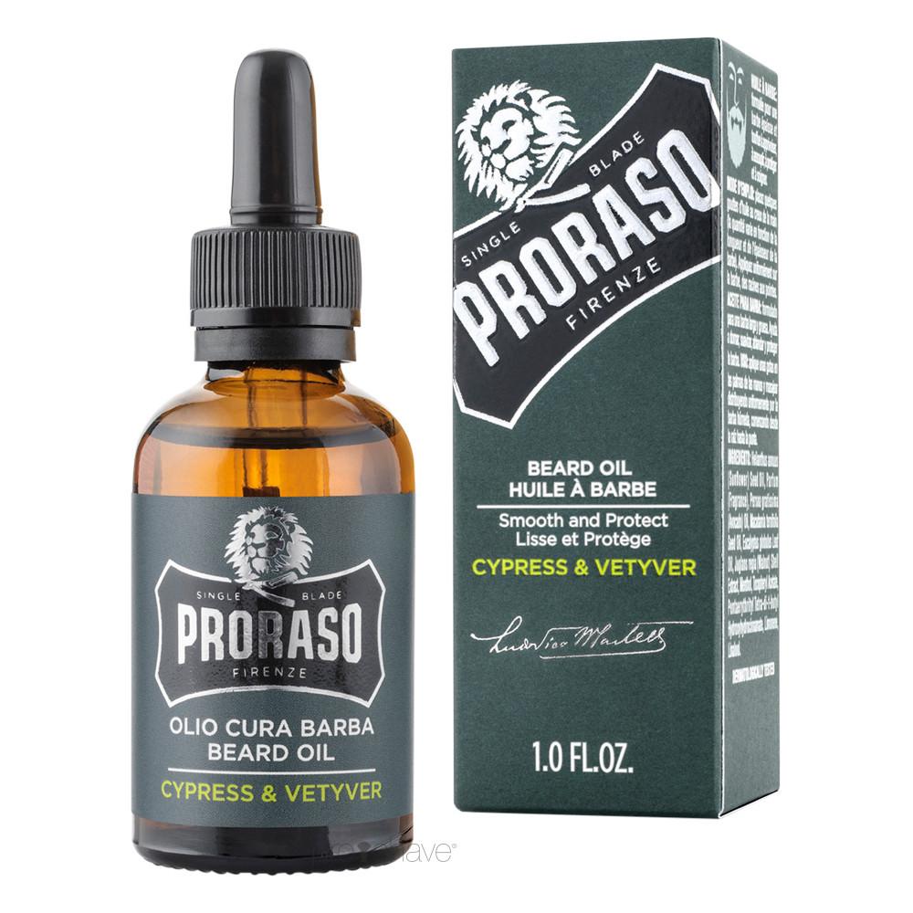 Proraso Skægolie, Cypress & Vetiver, 30 ml.