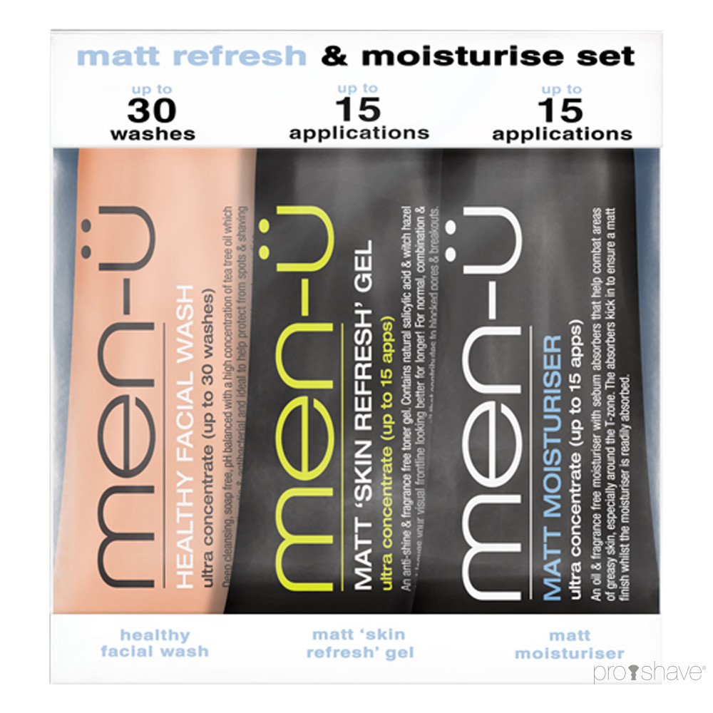 men-ü Matt Refresh & Moisturise Set, 3 x 15 ml.