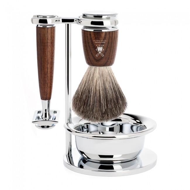 Mühle Barbersæt med DE-skraber, barberkost, holder og skål, Rytmo, Ask