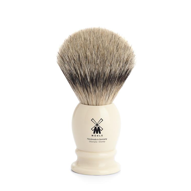 Mühle Silvertip Barberkost, 21 mm, Classic, Hvid Kunstharpiks