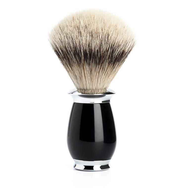 Mühle Silvertip Barberkost, 21 mm, Purist, Sort Kunstharpiks