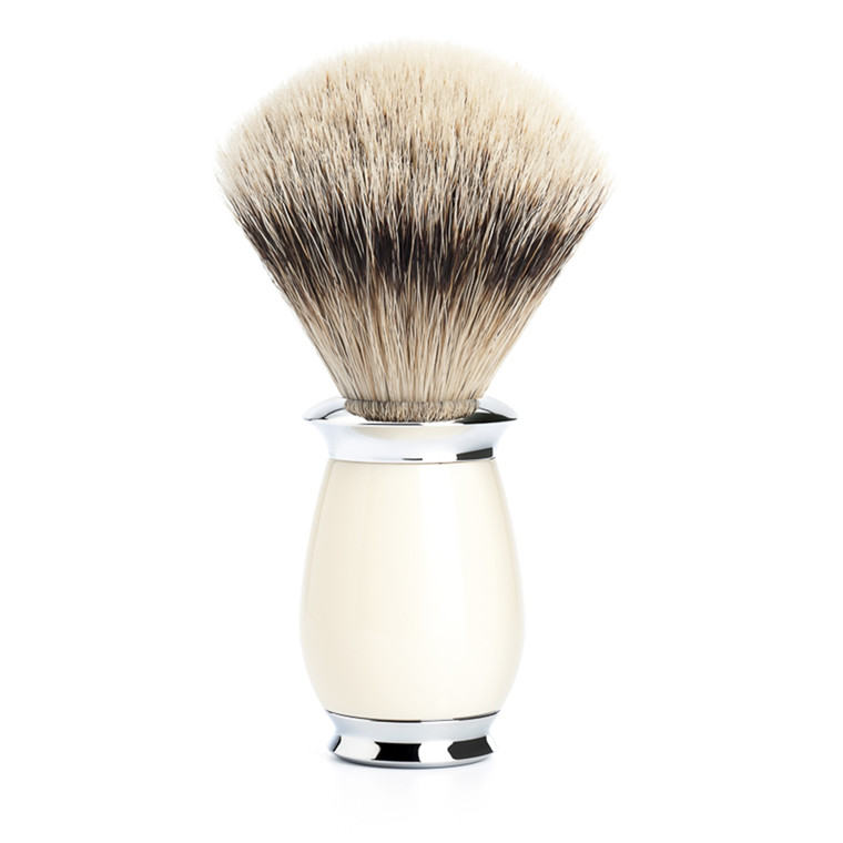 Mühle Silvertip Barberkost, 21 mm, Purist, Hvid Kunstharpiks