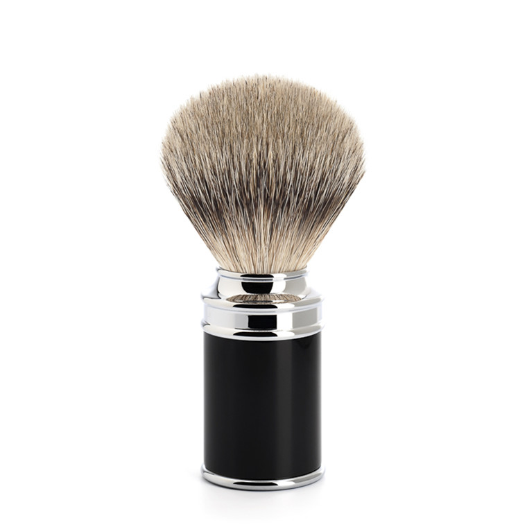 Mühle Silvertip Barberkost, 21 mm, Traditional, Sort Kunstharpiks