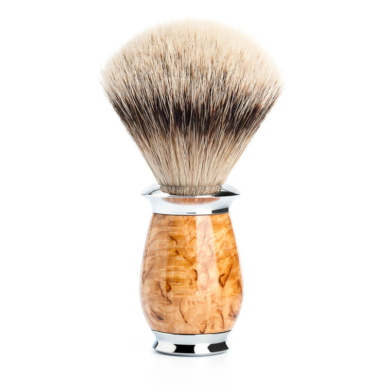 Mühle Silvertip Barberkost, 21 mm, Purist, Karelian burl birk