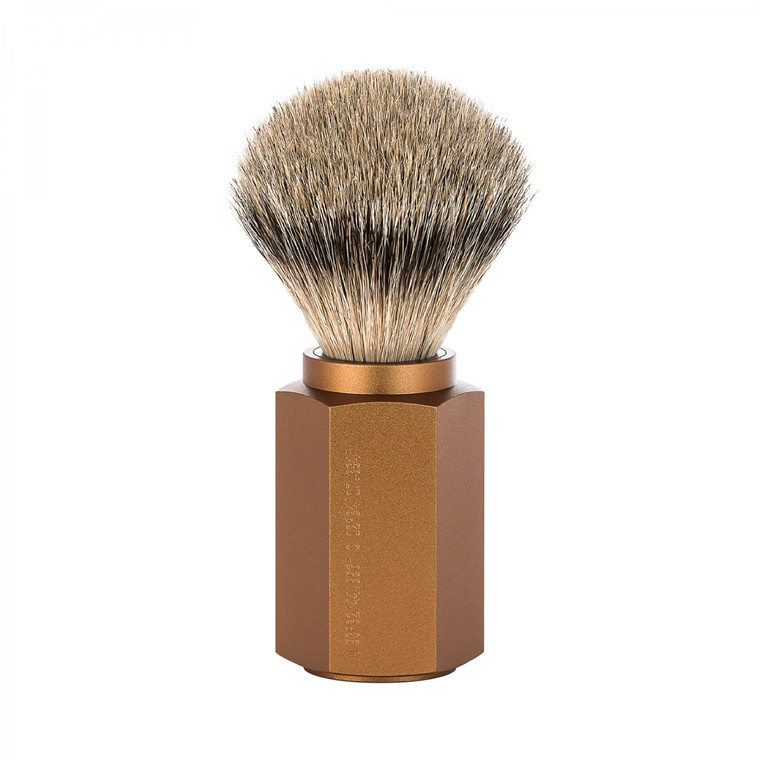 Mühle x Mark Braun Silvertip Badger Barberkost, 21 mm, Hexagon, Aluminium Bronze