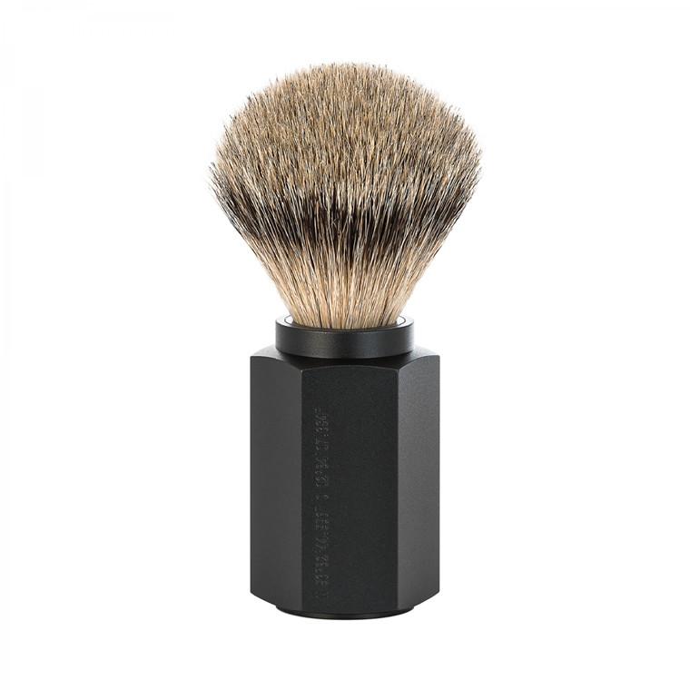 Mühle x Mark Braun Silvertip Badger Barberkost, 21 mm, Hexagon, Aluminium Graphite