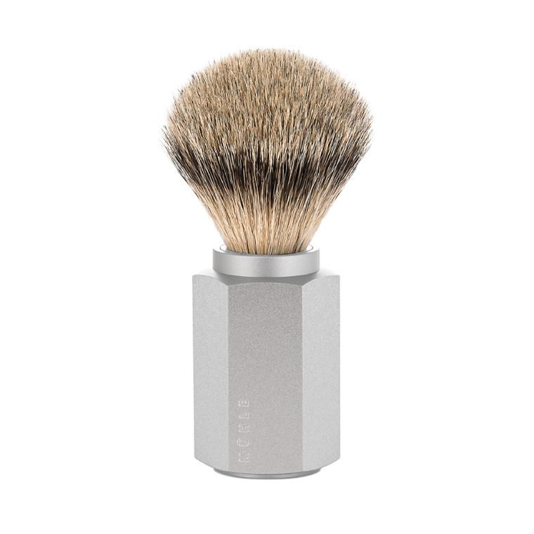 Mühle x Mark Braun Silvertip Badger Barberkost, 21 mm, Hexagon, Sølv